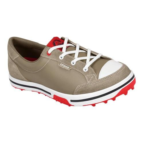 crocs Women's 15371 Bradyn2 Golf Shoe,Khaki/Red,4.5 M US