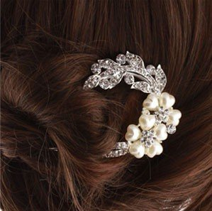 Hairpin (hairpin) Heart Flower Pearl rhinestone hair ornaments (wedding party kimono dress kimono Tomesode) Hair Accessories (japan import)