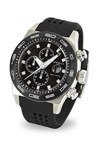 Locman Italy Men's 'Stealth 300 Metri' Quartz Stainless Steel and Rubber Diving Watch, Color:Black (Model: 0217V1-0KBKNKS2K)