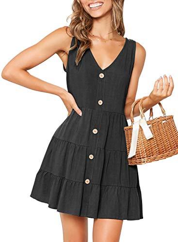 (MITILLY Women's Summer Sleeveless V Neck Button Down Casual Pocket Swing Short Dress Large Black)
