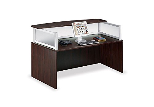 Neoterik Reception Desk Mocha Laminate/Frosted PlexiDimensions: 71''W x 36''D x 43.5''H Weight: 210 lbs. by Officient
