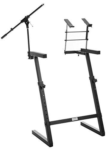 Classic Cantabile KWS-100 Z-Keyboardständer (Mikrofonstativ und Laptophalter, Stahl, höhenverstellbar, Standbeine doppelt mit Aufsatz, professionelles Zubehör für DJ und Alleinunterhalter) schwarz