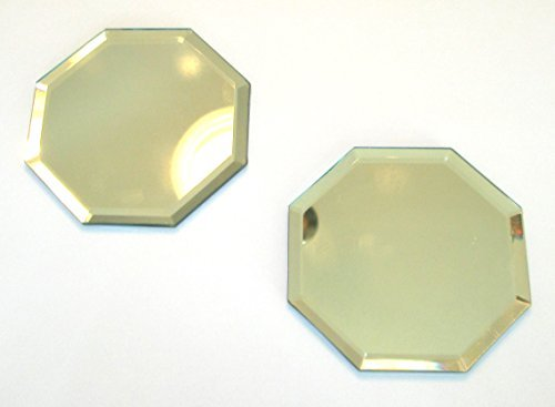 (NOT BRANDED Beveled Mirror 2 Pack, 4 Inch Octagonal, Glass Coaster with Pads on Back, Octagon)