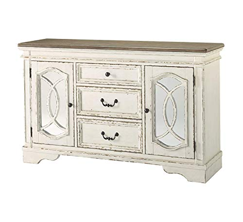 Furniture Realyn Dining Room Server Chipped White Home Office Commerial Heavy Duty Strong Décor