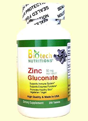 Biotech Nutritions Zinc Gluconate 50 mg 250 Tablets Made In USA Vegetarian/Vegan