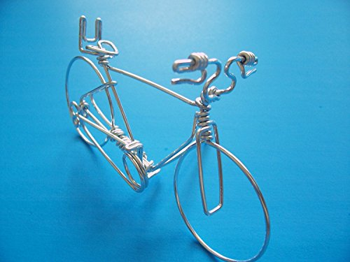 Bike Business Card Desk Display Holder ~ Hold 1 to Deck of Cards ~ Handmade Bicycle Ornament Gifts for Cyclists ~ Crafted with ONE Single of Aluminum Wire from Start to End with NO BREAK ~Silver Look - Haro Seats