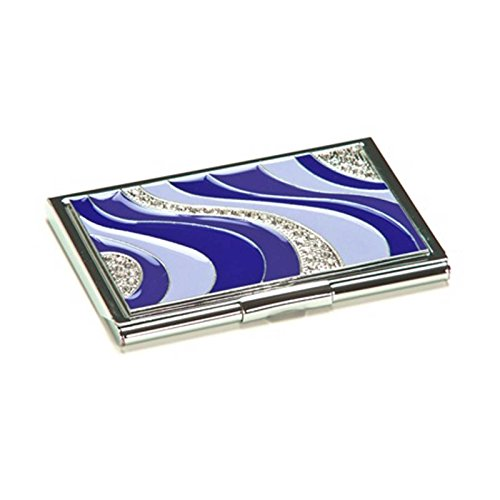 Blue Crystal Wave Business Card Case