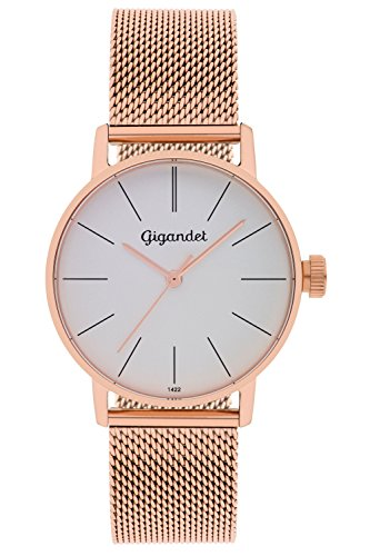 Gigandet Women's Quartz Watch Minimalism Analog Stainless Steel Bracelet Rose Gold Silver G43-008
