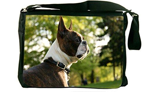 Rikki Knight Boston Terrier Dog Design Messenger Bag - Shoulder Bag - School Bag for School or Work (Messenger Boston Bag)
