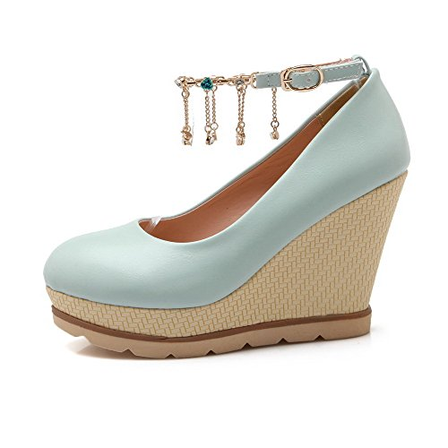 VogueZone009 Women's Solid PU High-Heels Closed Round Toe Buckle Pumps-Shoes with Charms Blue 2h7IYJX1FA