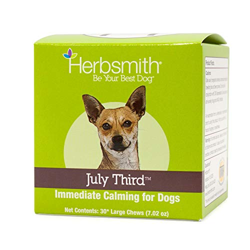 Herbsmith July Third - Canine Calming Chews - Calming Herbs for Dogs - Anxiety Supplements for Dogs - 30ct Large Chews