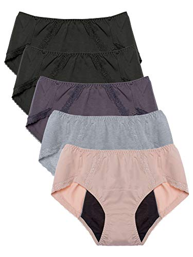 Intimate Portal Women Teens Menstrual Period Panties Incontinence Briefs Underwear 5-pk Gray Black Beige L