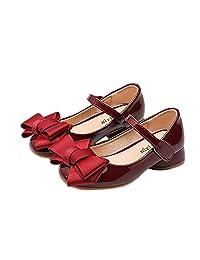 BININBOX Girls Bowknot Low Heel Girls Dress Shoes Pu Leather Shoes Kids