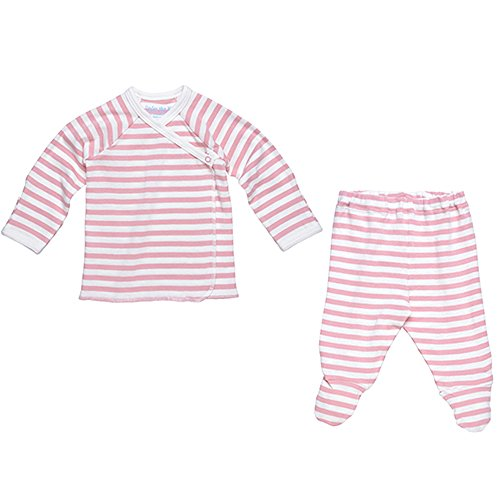 Under The Nile 2 Piece Side Snap L/ S Layette Set~Blush/Off-White~3-6 months