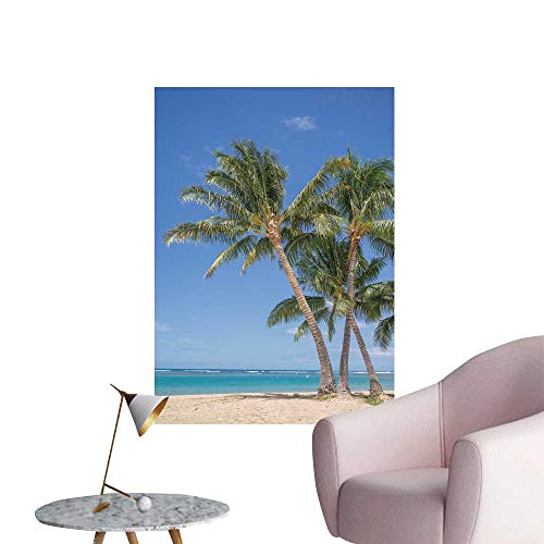 SeptSonne Wall Stickers for Living Room Isolate Waikiki Beach a Grove Coconut Palm Trees Vinyl Wall Stickers Print,20