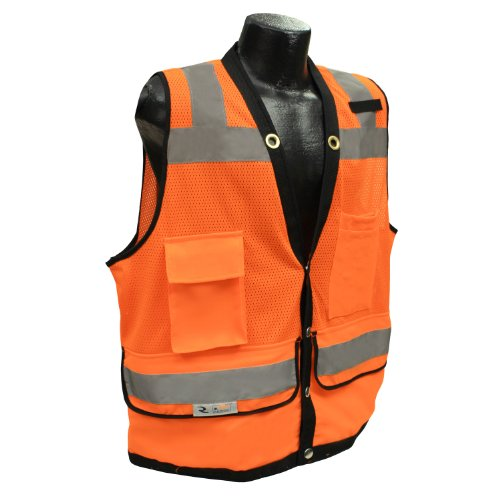 - Radians SV59-2ZOD-XL Class 2 Heavy Duty Surveyor Safety Vest, Orange Mesh Solid, Extra Large