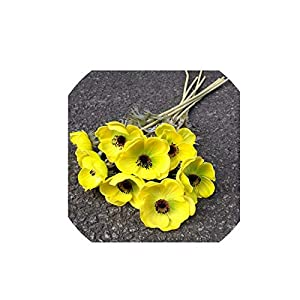 Wild-World DECOR 7PCS Artificial Anemones Flowers Real Touch Burgundy Center for Wedding Bouquets Centerpieces DIY Home Decoration,yellow-7pcs 56