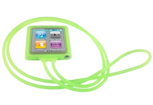 PiGGyB Soft Necklace Silicone Skin Case for Apple iPod nano 6 with 8GB 16GB Lime Green