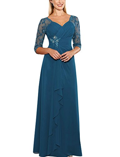 H.S.D Sheer Half Sleeves Beads Applique Mother Of The Bride Prom Dresses Formal Gowns
