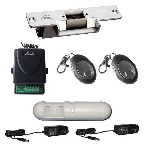 Visionis FPC-5347 Kit Control de Acceso de UNA Puerta con Cerradura Eléctrica VIS-EL101-FSA Normalmente Cerrada con Receptor Inalámbrico, Control Remoto y ...