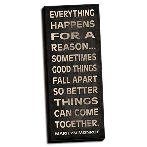 Gango Home Décor Everything Happens for a Reason Marilyn Monroe Inspirational Quote; One 8X20 Hand-Stretched Canvas (Everything Happens For A Reason Marilyn Monroe)