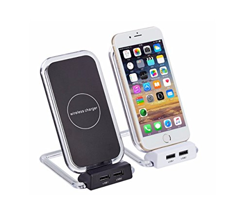 White Qi Wireless Charging Stand With Dual USB Port for Qi Enabled Smartphones(Samsung Galaxy S7/S6/S7/8/S8 and Standard Charge for iPhone X/8/8 Plus) by Avilana