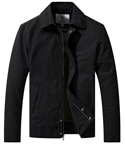 (WenVen Men's Casual Long Sleeve Full Zip Jacket with Pockets(Black,M))