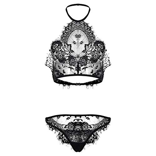 LOMONER Sexy Lingerie,2019 New Women's Lace Hollow Openwork Perspective Two-Piece Set