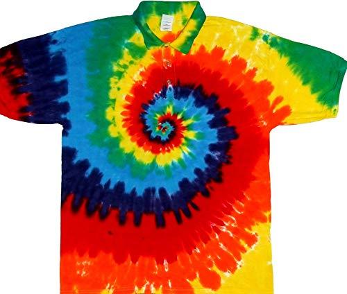 (Tie Dyed Shop Cotton Rainbow Spiral Tie Dye Sports Golf Collared Shirt Small)