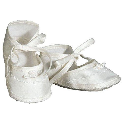 Mädchen Seide Dupionseide Taufe Schuhe Taufe Schuhe mit Schleife Rosette