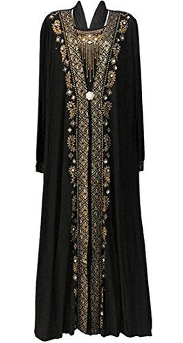 ARTFFEL-Women Muslim Dress Kaftan Long Sleeve Maxi Long Dress Abaya Islamic Clothing Arabic Caftan 1 XL