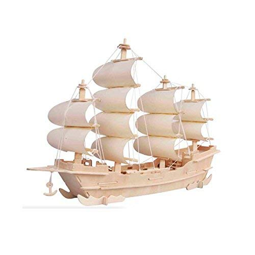 Boat Wooden Kit (3d DIY Wooden Puzzle Toy or Hobby Decorative Merchant Ship Boat Model for Children by tonwins)