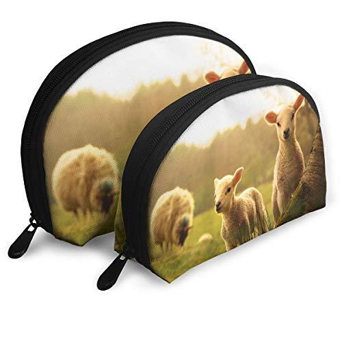 DF039ht20 Lambs Shell Shape Zipper Cosmetic Bags,Travel Bag,Makeup Holder Case (2-Pack)