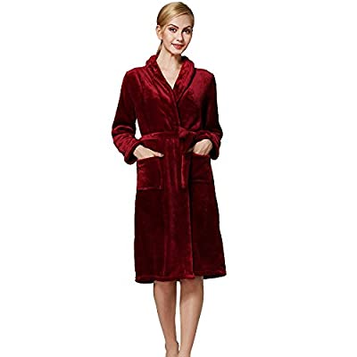 iLOOSKR New Women's Home Bathrobes Flannel Warm Robes Pajamas