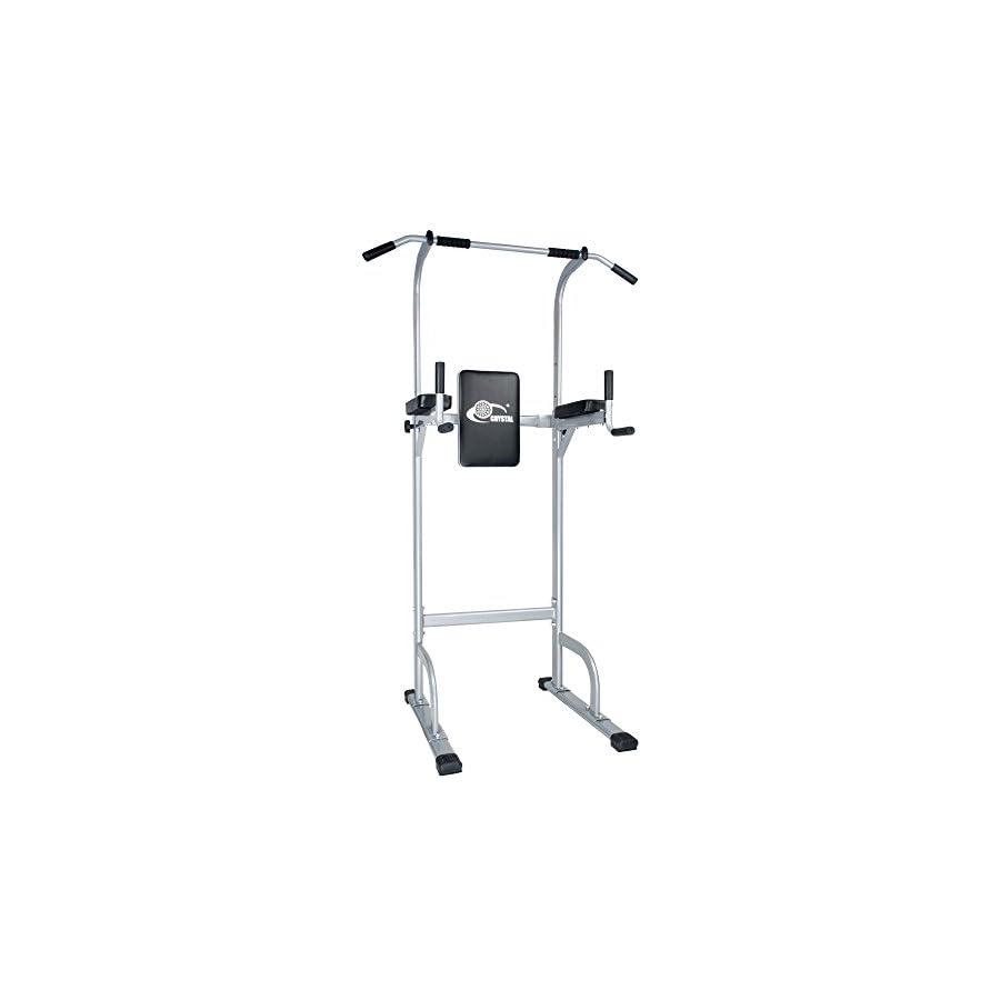 Doitpower Power Tower Free Standing Pull Up Bar Indoor Home Fitness Equipment (Grey)
