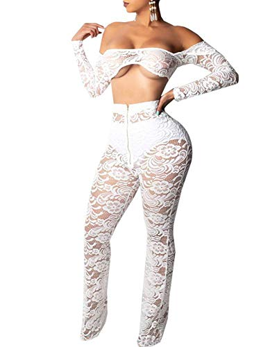 (Womens Embroidered Off Shoulder Long Sleeve Sexy Black Mesh Lace Crop Top and Midi Skirt Two Piece Set)