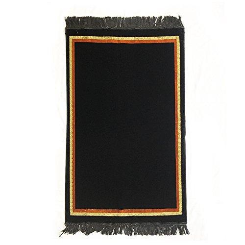 Plain Prayer Rug Turkish Islamic Plush Velvet Janamaz Prayer Mat - Plain Rectangle Design Black by Al Arabia