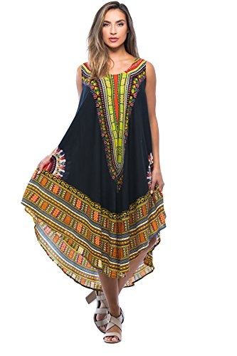 Riviera Sun 21755-BLK-FS Dashiki Dress Dresses For Women
