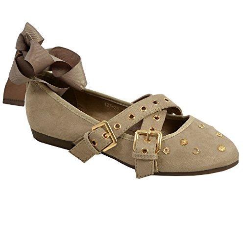 Wrap Dolly Taglie Borchie Fibbia Ballerina Scarpe Khaki Womens Flat Ankle Pumps Ladies Con gq6Sff