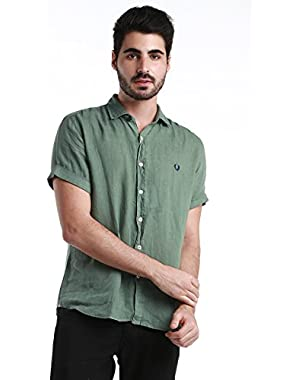 Green Label Men's Short Sleeve Button Down Shirt - Made in Italy