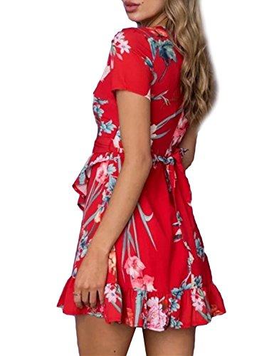 Summer Dress Mini Rosso Fiore Mare Abito Stampa Vita Estivo V Beach a Scollo Copricostume Mare Cocktail Sera Pieghe Corto Alta Vestito Donna Mescara Spiaggia 6qTwgx8fB6