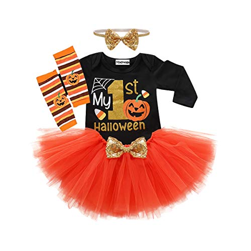 Baby Girls Halloween My 1st Halloween Sequins Romper+ Chiffon Tutu Skirt+ Striated Leggings+ Bunny Headband 4Pcs Outfit Set (Orange, 6-9 ()