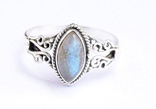 Grey Blue Fire Labradorite Ring, 925 Sterling Silver Labradorite Stone Gemstone Ring, Girl Women Gift Ring Size US 5 6 7 8 9 10 11 12