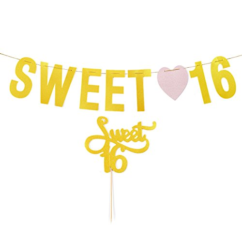 Birthday Party Banners - 1 Pack Sweet Sixteen Decorations, Sweet 16 Party Supplies, Gold - 5.75 Feet