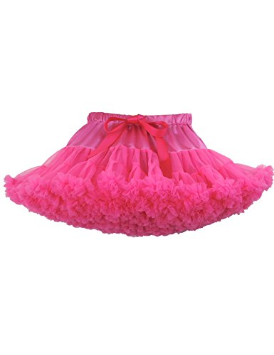 Baby Girls Tutu Skirt Princess Fluffy Soft Chiffon Ballet Birthday Party Pettiskirt Hot Pink (Hot Pink Pettiskirt Tutu)