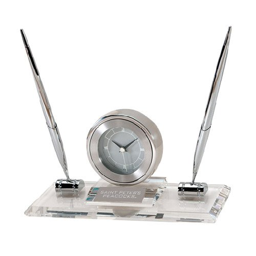 Saint Peters Executive Glass Clock and Pen Stand 'Saint Peters University Engraved'