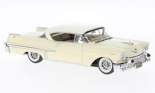 Cadillac Series 62 Hardtop Coupe, beige/weiss, 1957, Modellauto, Fertigmodell, Neo 1:43