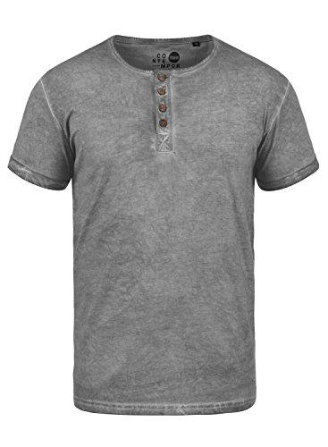 Manga shirt Grandad Algodón Tihn Grey Corta 2842 Camiseta solid Hombre Para T Básica Con Cuello De 100 Mid wnIHF1xgq