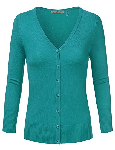 JJ Perfection Women's 3/4 Sleeve V-Neck Button Down Knit Cardigan Sweater Teal S