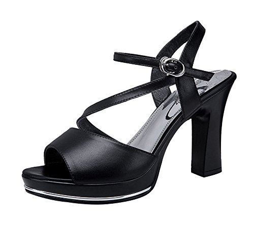 Passionow Women's Trendy Peep-Toe Ankle-Strap Buckle Chunky Heel Sandals Pumps